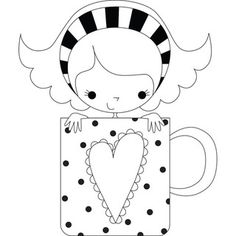 Stamping Bella 'Chloe the Coffee Mug Girl' Rubber Stamp