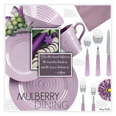 """""""Mulberry Dining"""" by mcheffer ❤ liked on Polyvore featuring interior, interiors, interior design, home, home decor, interior decorating, Portmeirion, Huddleson and kitchen"""