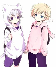 Cute Iceland and Norway from Hetalia O my gosh! They are holding hands! And look at his little cat sweeter!! It's cute!