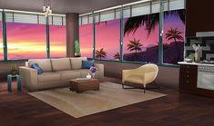 gacha living anime bedroom night aesthetic scenery tub sunset open wallpapers kartun ruangan int