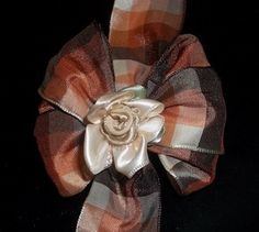 Brown Plaid Wired Ribbon Hair Bow | Jenstardesigns - Accessories on ArtFire