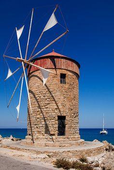 Rhodes - Mandraki Windmills by John & Tina Reid Rhodes, Santorini, Mykonos, Places To Travel, Places To See, Zakynthos, Old Windmills, Greek Isles, Greece Islands