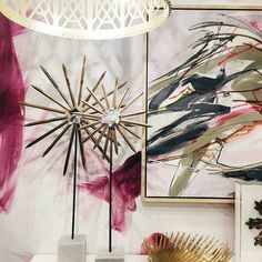 @Regrann from @restylesource -  Fabulous feminine flair in our Building 1 breezeway vignette. Special thanks to @mitchell__black for making our wallpaper dreams come true with this custom brushstroke beauty!  #atlmkt #atlanta #americasmart #retailmeetsdesign #itsallhere #interior #interiordesign #pink #custom #wallpaper #Regrann #madebymitchellblack #customwallpaper