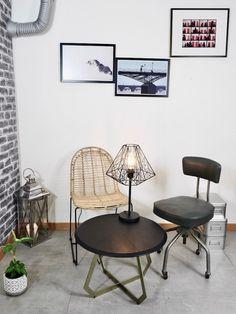 comment creer un salon style industriel idee deco vintage en quelques detail, faux conduit d'aeration faux sol imitation beton cire par gerflor, meuble recup et style indus loft