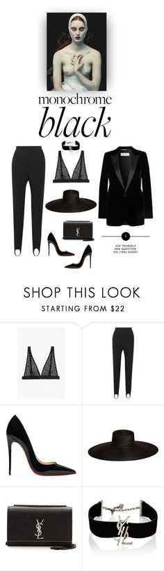 """""""Hello darkness my old friend"""" by iriadna ❤ liked on Polyvore featuring Monki, Burberry, Christian Louboutin, Samuji, Yves Saint Laurent, monochrome and allblack"""
