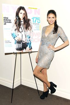 NINA DOBREV LEGS PHOTOS | Nina Dobrev cleavage and legs at Nylon and got2b February issue party ...
