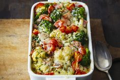 Cazuela de coliflor y brócoli - Gemüse von A - Z - How To Cook Ham, What To Cook, Vegetarian Recipes, Cooking Recipes, Healthy Recipes, What's Cooking, Fondue Recipes, Ham Recipes, Water Recipes