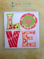 Love Shabby Flower Applique - 3 Sizes! | Valentine's Day | Machine Embroidery Designs | SWAKembroidery.com East Coast Applique