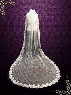 Cathedral Length Lace Wedding Veil Gathered at the top | VG1050 | Ieie's Bridal Wedding Dress Boutique