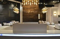 Would love to have my spa name on a wall like this Hair Salon Interior, Spa Interior, Salon Reception Area, Modern Reception Desk, Beauty Salon Decor, Beauty Salon Names, Beauty Salon Design, Nail Salon Design, Distressed Walls