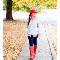 red gingham button up + heathered oatmeal monogrammed quarter zip + dark skinny jeans + red Hunter wellies