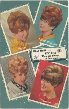 1960s Vintage Women BIG HAIR and Accessories Hair Styles Collectible Stylist The Minx Will-O-Wisp Checkmate Bambino Styles
