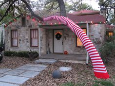 Dr. Seuss Candy Cane in original pinner's front yard in Austin ,TX
