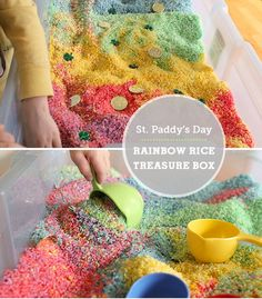 Rainbow rice treasure box - The perfect DIY St. Patrick's Day gift, my toddlers loved hunting for the gold and shamrocks. Toddler Activities, Preschool Activities, Family Activities, Holiday Crafts, Holiday Fun, Projects For Kids, Crafts For Kids, Toddler Crafts, Sensory Boxes