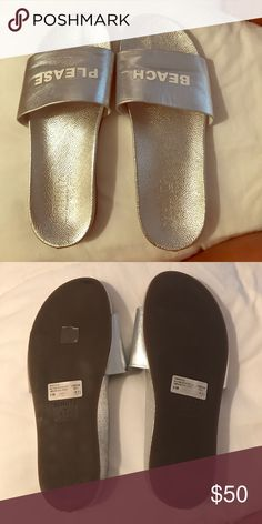 "Basically brand new Schatz flip flops Only worn once silver slide on ""beach please"" flip flops. One flip flop says ""beach"" the other says ""please"" in white capital slightly raised letters! I absolutely love them but bought them too small! SCHUTZ Shoes Sandals"