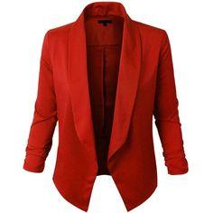 RubyK Womens Lightweight Open Front Draped Tuxedo Blazer Jacket (34 BRL) ❤ liked on Polyvore featuring outerwear, jackets, blazers, red tuxedo blazer, red tuxedo jacket, tuxedo blazer, red jacket and tux jacket