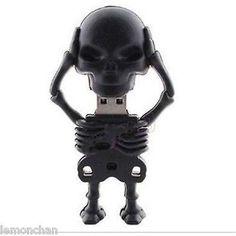Black Skeleton pen drive 4GB USB 2.0 Memory Stick Flash Pen Drive Flash Storage