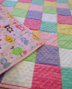Pastel Quilt Baby Girl Minky Quilt Double Satin