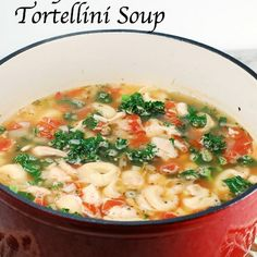 Easy Chicken and Tortellini Soup with Kale Recipe Soups with olive oil, onions, garlic, chicken broth, diced tomatoes, kale, cheese tortellini, cooked chicken, italian seasoning, salt, pepper, parmesan cheese
