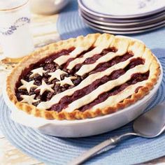 Old Glory Cherry-Blueberry Pie. Click for recipe #stars #strips #starsandstrips #red #white #blue #4th #july #independence #day #usa #america #beautiful #patriotism #hope #glory #flag #celebrate #holiday #blueberry #pie #recipe #cherry