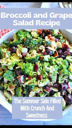 Vegetarian Options, Vegetarian Recipes, Cooking Recipes, Quick Party Food, Grape Salad, Creamy Mashed Potatoes, Broccoli Salad, Soup And Sandwich, Healthy Salad Recipes