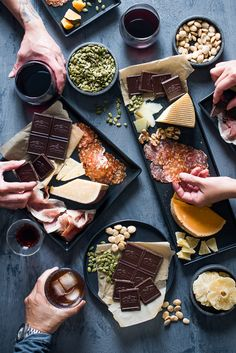 Cheese and Charcuterie Platter Party Paired with Dark Chocolate