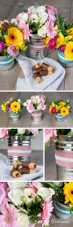 Die schönste DIY Frühlingsdekoration ist noch immer die mit frischen Blumen. Konservendosen dienen als Vasen, bunte Schleifen und Bänder geben der DIY Vase den letzten Schliff.  // The prettiest spring decoration is still a #DIY with fresh flowers! Simply use tin cans as DIY vases and spice them up with colorful ribbons.  #Frühling #Tulips #Decoration #Spring #LifeIsSweet #Bahlsen