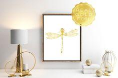 Gold foil dragonfly