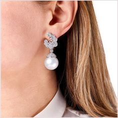 Yoko London White Gold South Sea Pearl and Diamond Earrings, from our Mayfair collection. Pearl And Diamond Earrings, Pearl Jewelry, White Gold Diamonds, Colored Diamonds, Yoko London, South Sea Pearls, South Seas, Diamond Clarity, Floral Motif