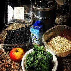 #nutribullet #onpoint for #breakfast #kale #coachsoats #blueberries #apple #coconutwater #healthy