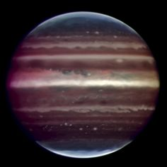 Infrared image of Jupiter taken by the ESO's Very Large Telescope.