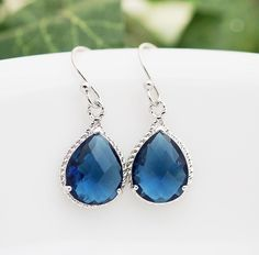 Wedding Jewelry Bridal Earrings Bridesmaid Earrings Sterling Silver Ear wires with Sapphire Blue Glass rhodium Trimmed Pear Cut  Earrings. $22.00, via Etsy.