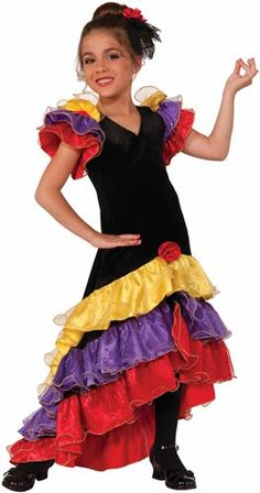 83cf976f3d1c Flamenco Dancer Girls Costume Spanish Dress, Spanish Costume, Spanish  Dancer, Light Up Costumes