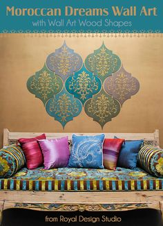 How to Stencil: Moroccan Dreams Wall Art Wood Shapes DIY Tutorial that you can do yourself! Stencil and paint Wall Art Wood Shapes from Royal Design Studio Moroccan Wall Art, Moroccan Theme, Room Wall Decor, Diy Wall Decor, Diy Home Decor, Bedroom Decor, Diy Wall Art, Wood Wall Art, Diy Art