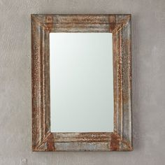 Weathered Iron Rectangle Mirror in New Fresh for Fall at Terrain