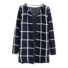 Round Neck Open Front Plaid Long Sleeve Longline Cardigan (135 CNY) ❤ liked on Polyvore featuring tops, cardigans, plaid cardigan, round neck cardigan, longline top, blue cardigan and longline cardigan