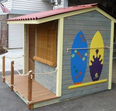 Here is a cute idea for a surf shack. Love the boardwalk and rope on the front. Take what you have and create a fun scene for your stage area.