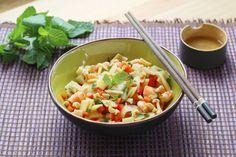 Recette - Salade de crevettes, menthe, poivrons et pousses de bambou | Notée 5/5