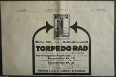 Torpedo bicycle No.30, No. 70, Weil works Frankfurt Rödelheim, orig.Anzeige 1914 | eBay
