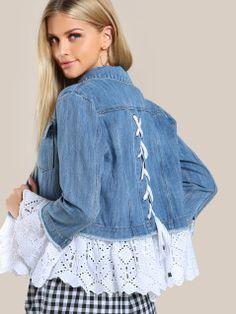 SheIn bietet Lace Applique Denim J . Fashion Sewing, Denim Fashion, Fashion Outfits, Fashion Top, Fashion Ideas, Sewing Clothes, Diy Clothes, Refashioned Clothes, Jeans Trend