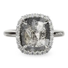 4.4 Carat Black Diamond Halo Engagement Ring, Recycled 14k White Gold