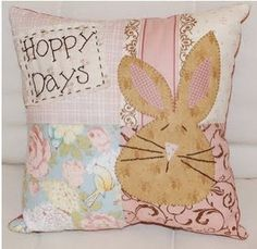 "Vickie from Spun Sugar Quilts made this pillow to add some whimsy to her Easter decor. Her ""Hoppy Days"" creation is adorable. Visit her POST: Hoppy Days to read more."