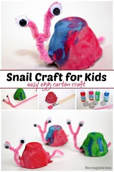 Fun egg carton snail craft for kids! A simple preschool craft that kids can make for bug or spring-themed projects. Adorable recycled materials craft! #preschoolcrafts #craftsforkids #kidscrafts #springcrafts #recycledmaterials #ece