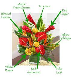 Breakdown of Tropical Arrangement by Valley Florist