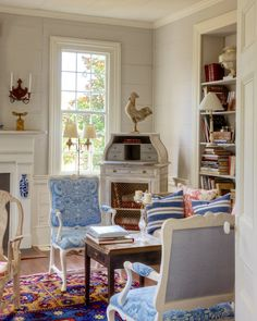 Will An All Blue and White Home Look Weird? - laurel home | Furlow Gatewood library in blue white, gray and a cool Oriental rug. Photo by Rod Collins