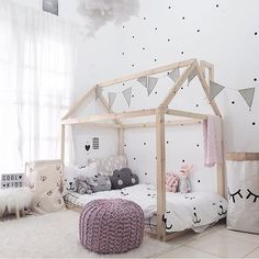 Such a beautiful space Adore the house bed and cute bedding! Created by…