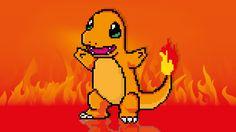 Charmander, de la serie pokemon, en pixel.