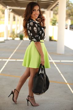skulls and bright colors? yes, please. Definitely still want a top like that. Dulce Candys OOTD: Bright | More outfits like this on the Stylekick app! Download at http://app.stylekick.com
