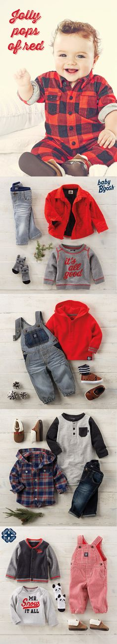 JOLLY POPS OF RED: In the spirit of Santa pictures, these Baby B'gosh looks pair red with plaid, hickory stripe and festive phrases for the newest member of the family. Find more little looks at OshKosh.