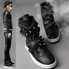 Men Black Leather Spike Hard Punk Rock Combat Boots SKU-1280013